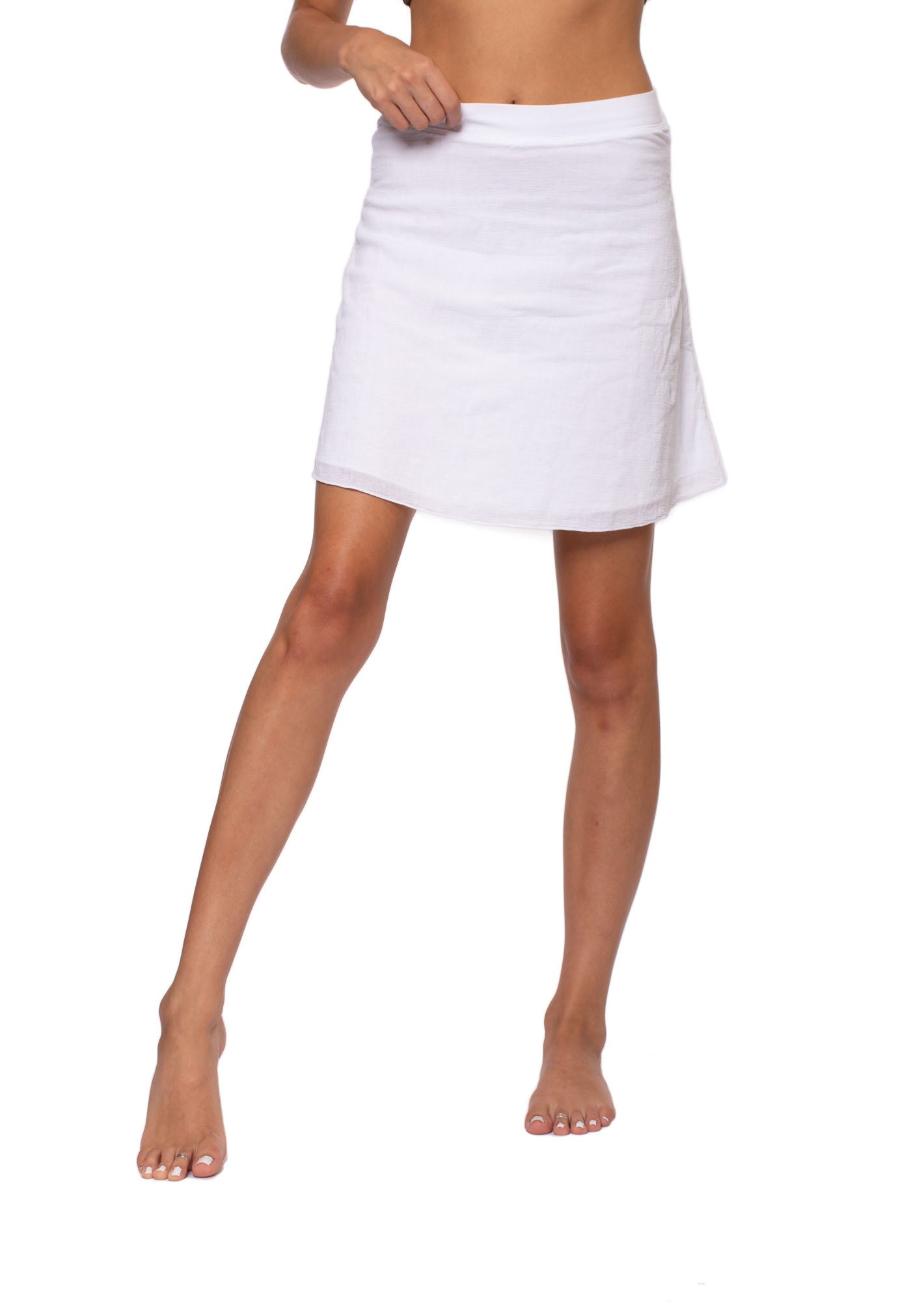 Hard Tail Forever - Crinkle Short Skirt (CRIN-05, White)