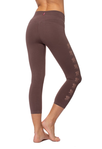 High Rise Capri Legging (Style W-614-809, Mocha w/Rose Gold Roses) by Hard Tail Forever alt view 1