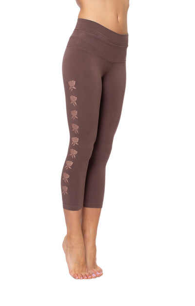 High Rise Capri Legging (Style W-614-809, Mocha w/Rose Gold Roses) by Hard Tail Forever alt view 6