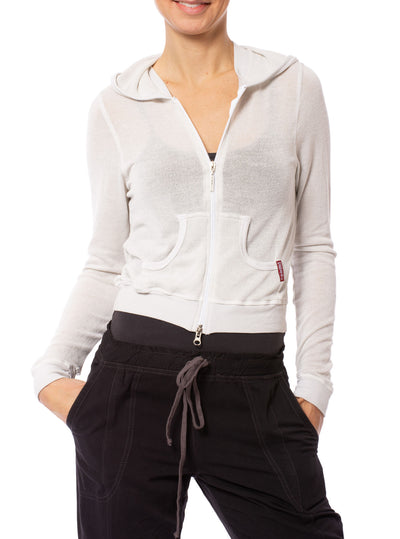 Hard Tail Forever - Double Zip Front Crop Hoodie W/Pockets (BIRD-27, Clay)