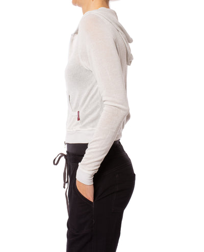 Hard Tail Forever - Double Zip Front Crop Hoodie W/Pockets (BIRD-27, Clay) alt view 1