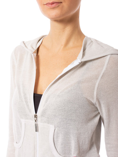 Hard Tail Forever - Double Zip Front Crop Hoodie W/Pockets (BIRD-27, Clay) alt view 5