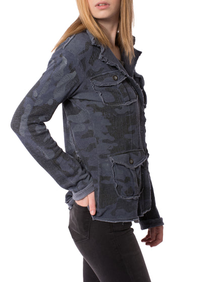 Camo Raw Edge Jacket (Style HEAT-04-CAMO, Camo Dusk) by Hard Tail Forever alt view 1