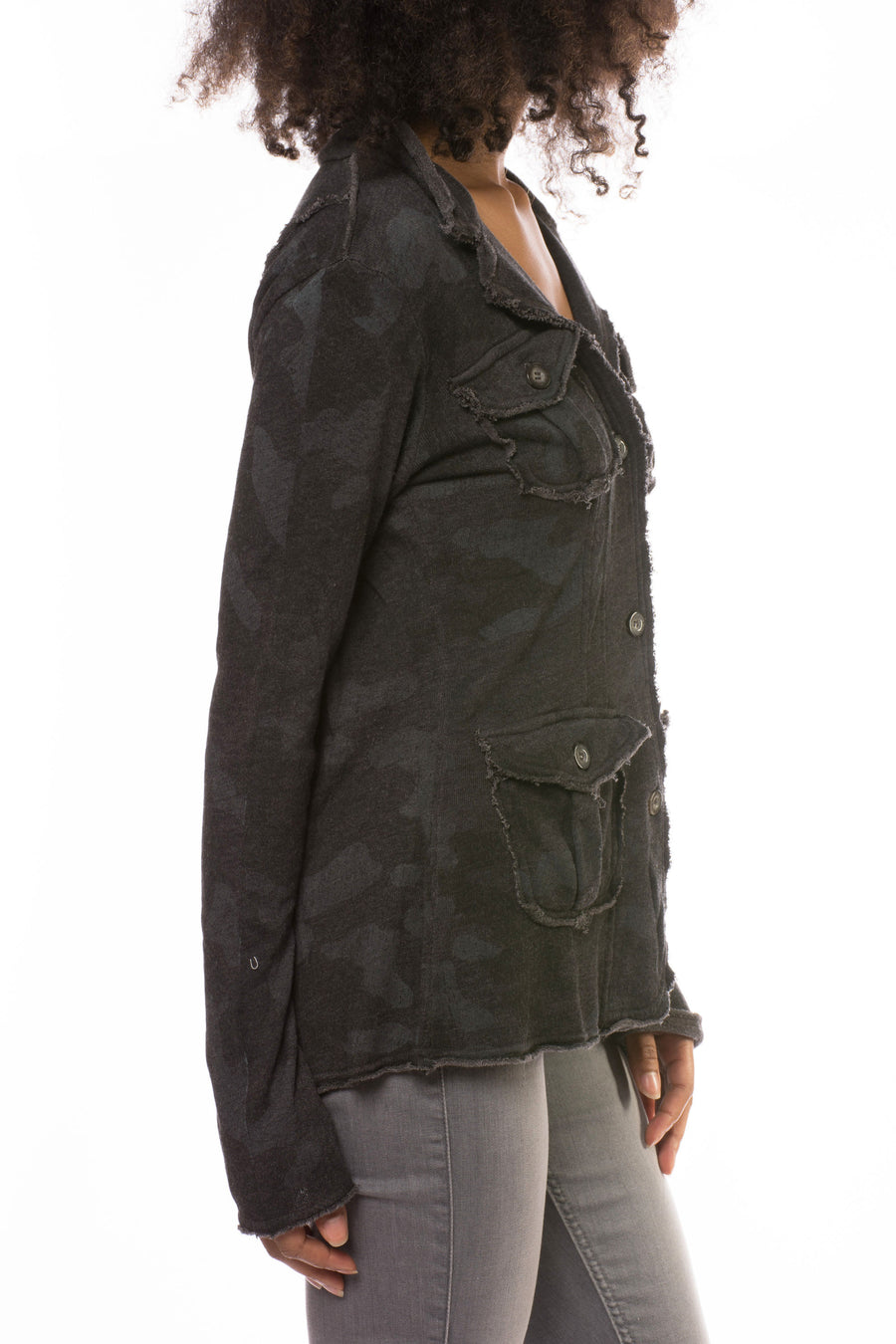 Camo Raw Edge Jacket (Style HEAT-04-CAMO, Granite Camo) by Hard Tail Forever