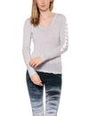 Supima/Lycra Long Sleeve Scoop Tee w/Star (Style SL-69-507, Dove/White) by Hard Tail Forever