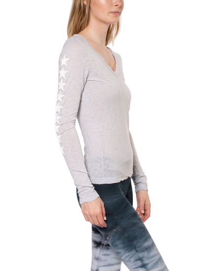 Supima/Lycra Long Sleeve Scoop Tee w/Star (Style SL-69-507, Dove/White) by Hard Tail Forever alt view 1