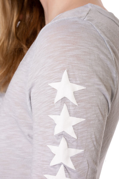 Supima/Lycra Long Sleeve Scoop Tee w/Star (Style SL-69-507, Dove/White) by Hard Tail Forever alt view 3