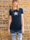 Supplex Lycra Short Sleeve Tee w/Star (Style SL-141-501, Sail w/Silver Star) by Hard Tail Forever