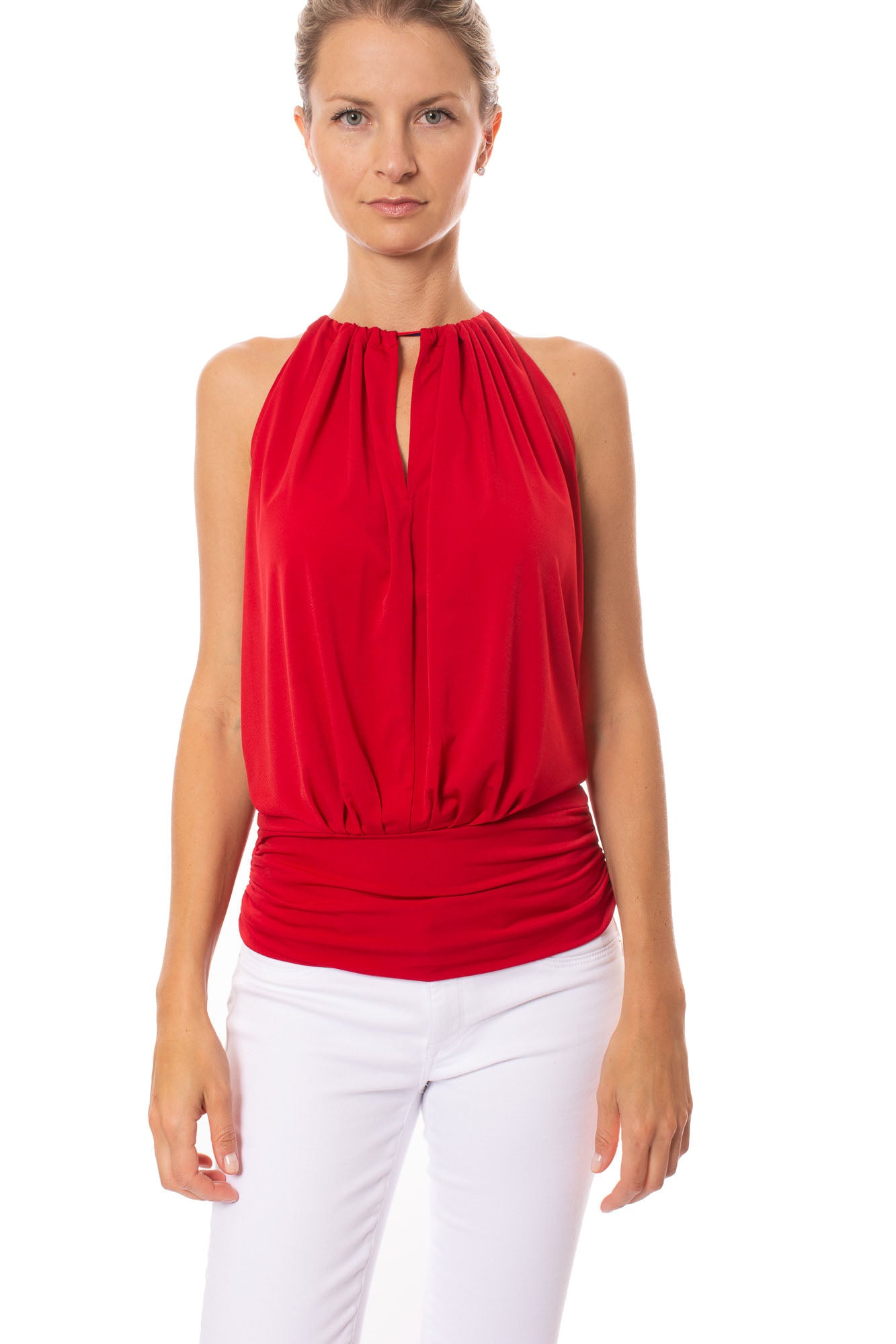Julian Chang - Halter Top W/Contrasting Ribbon Draw String & Ruched Waist (1660, Red)