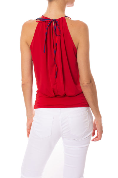 Julian Chang - Halter Top W/Contrasting Ribbon Draw String & Ruched Waist (1660, Red) alt view 2