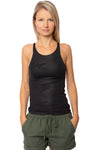 Hard Tail Forever - Strappy Back Tank W/Diagonal Stripes & Camo (EMB-02, Black)