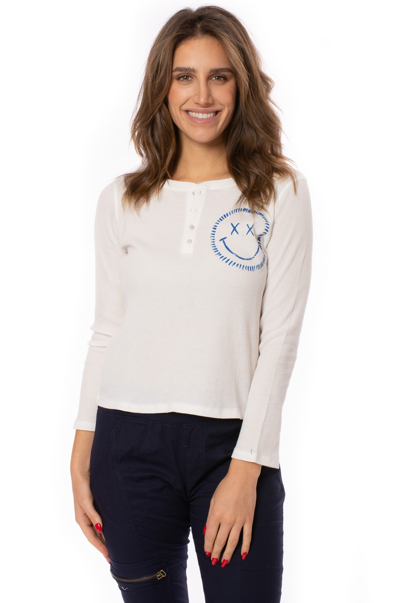 Six/Fifty - Henley w/Smiley (SF2721, White) alt view 1