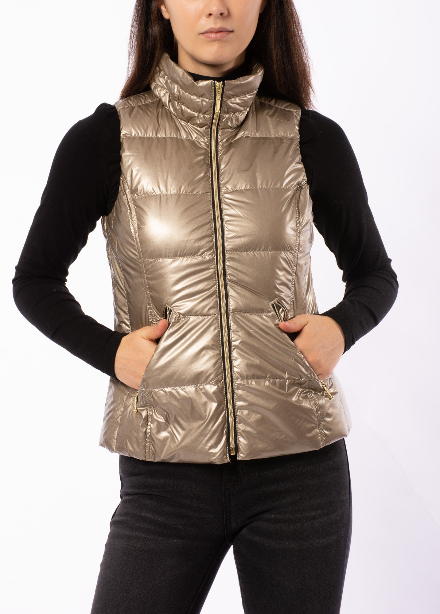 Anorak - Short Puffy Vest (50172CA, Metallic Gold)