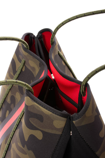 Haute Shore - Greyson Brat2 Neoprene Tote Bag w/Zipper Wristlet Inside (Greyson, Camo Gren w/Black & Red Stripe) alt view 3