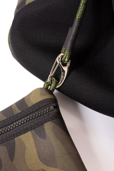 Haute Shore - Greyson Brat2 Neoprene Tote Bag w/Zipper Wristlet Inside (Greyson, Camo Gren w/Black & Red Stripe) alt view 5