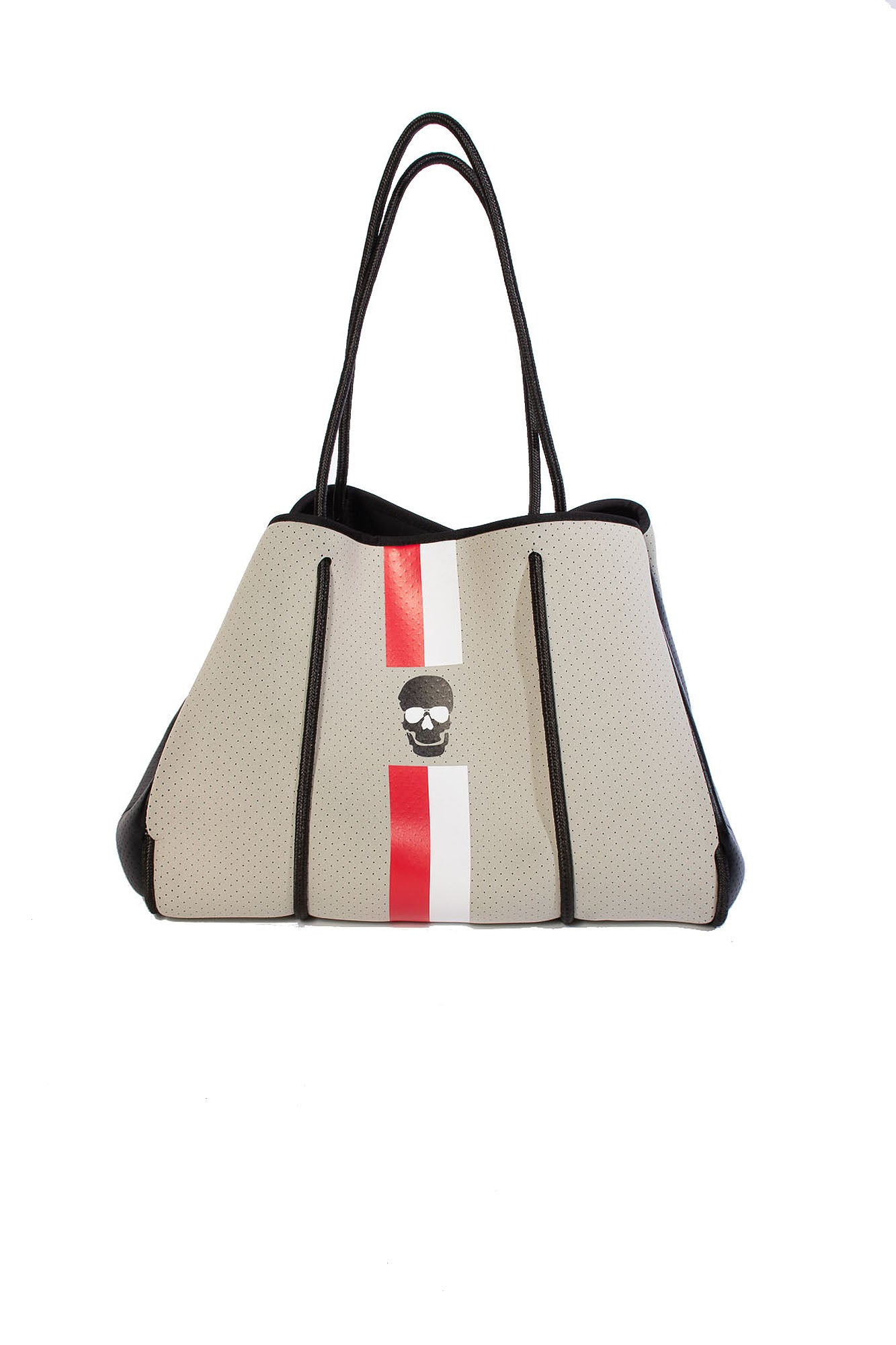 Haute Shore - Greyson Idol Tote (Putty w/Black Skull & Red/White Stripe)