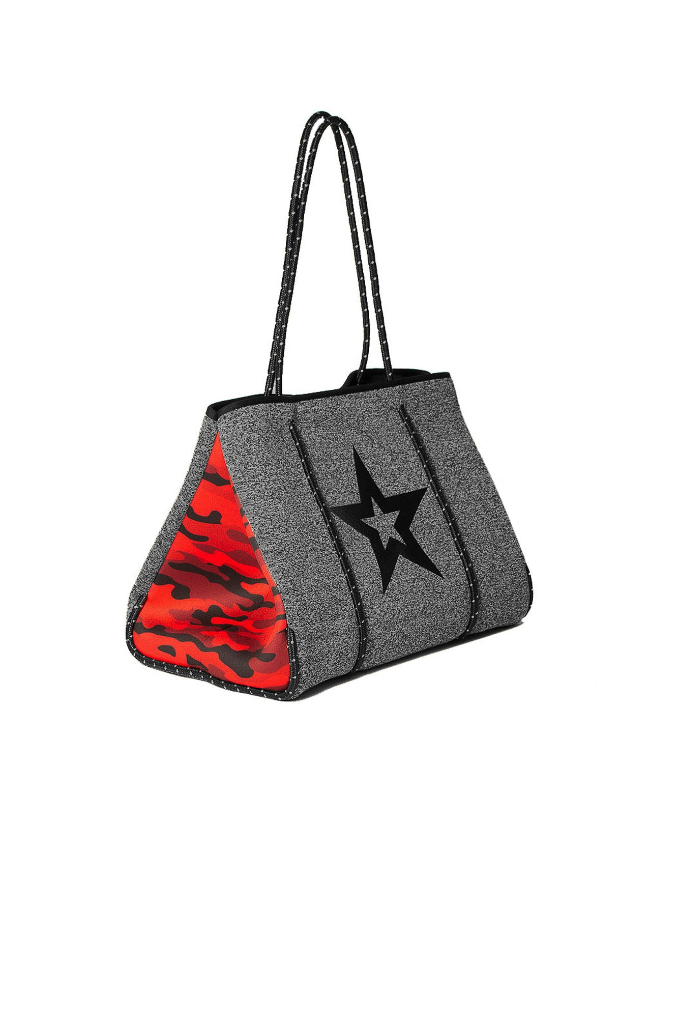 Haute Shore - Greyson Brave Neoprene Tote Bag w/Zipper Wristlet Inside (brave, Charcoal Marle/Black Star w/Red Camo Sides)