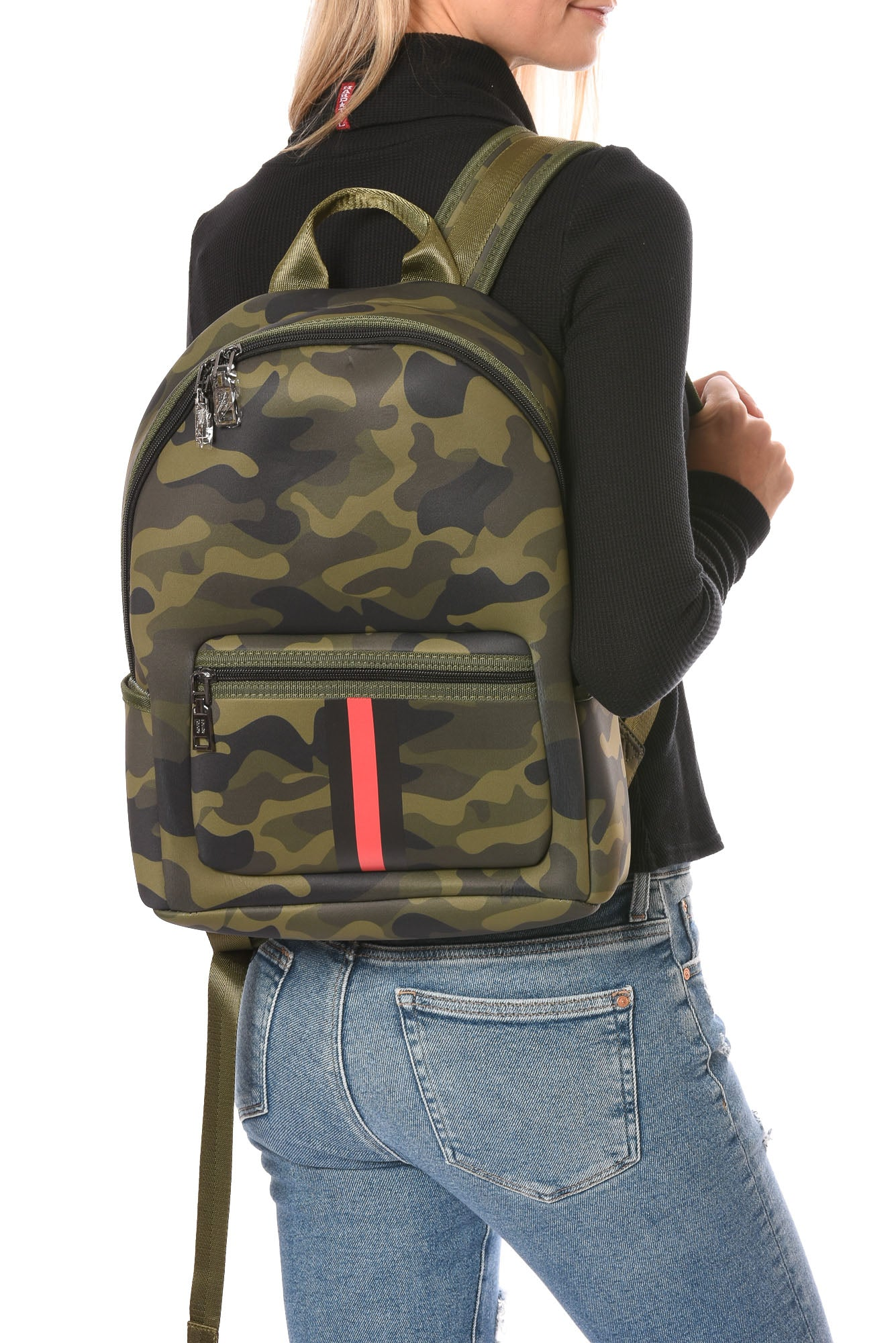 Haute Shore - Alex Backpack (alex, Green Camo w/Red & Black Sripe)