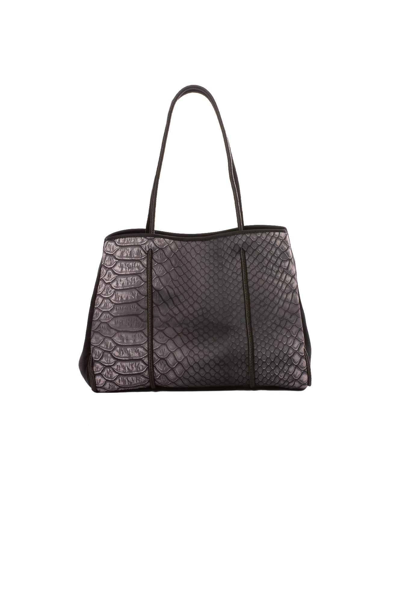 Haute Shore - Greyson Smoke Neoprene Tote Bag w/Zipper Wristlet Inside (Smoke, Black Croc Print)