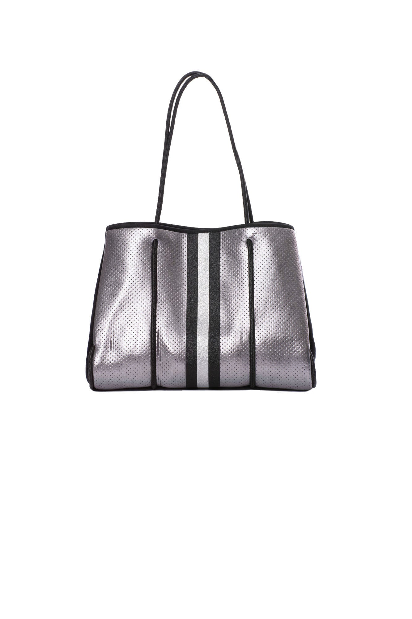 Haute Shore - Greyson Ace Neoprene Tote Bag w/Zipper Wristlet Inside (Ace, Pewter Metallic w/Black & White Stripe)
