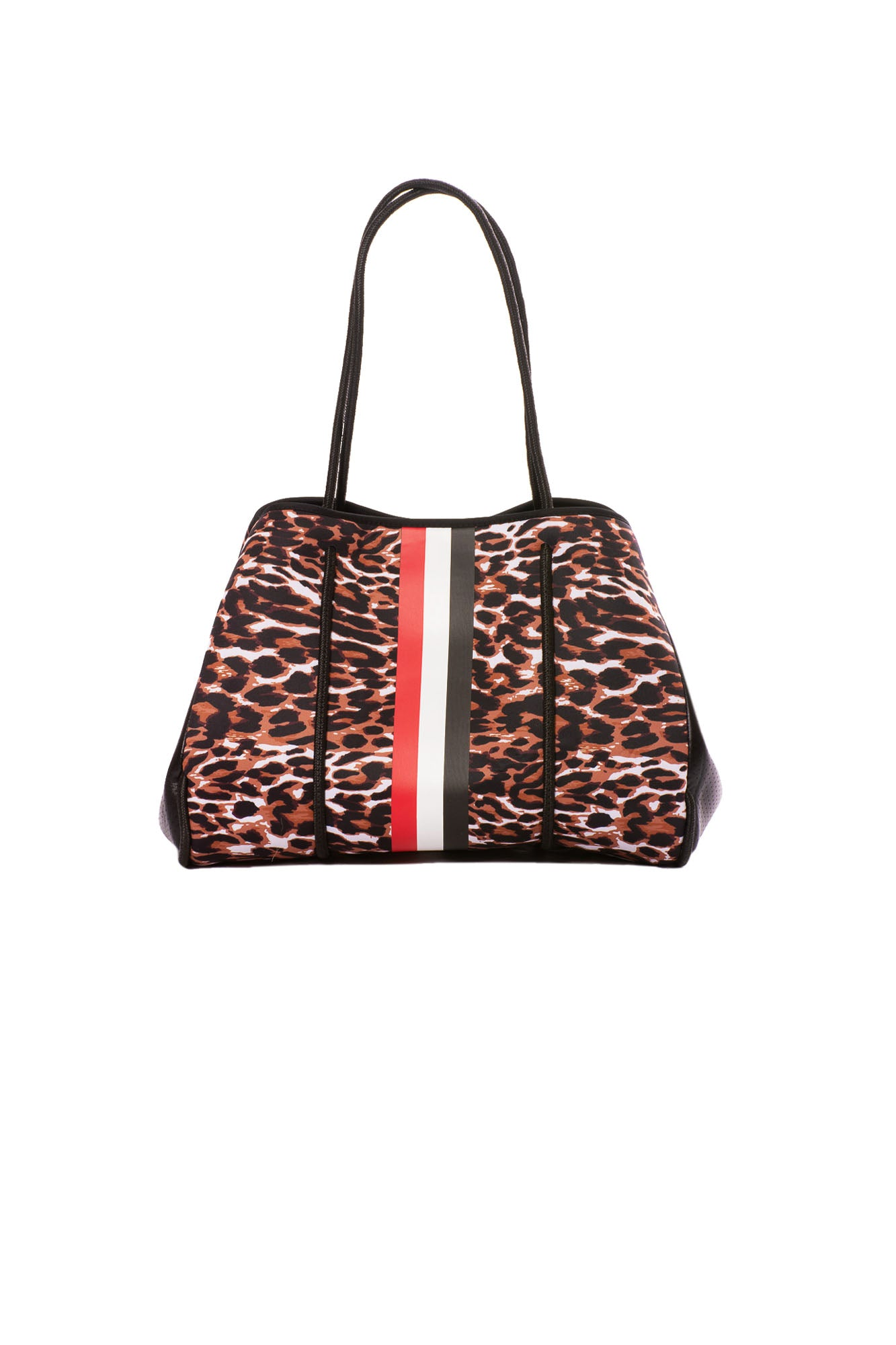 Haute Shore - Greyson Wild Neoprene Tote Bag w/Zipper Wristlet Inside (Wild, Leopard w/Black, Red, White Stripe)