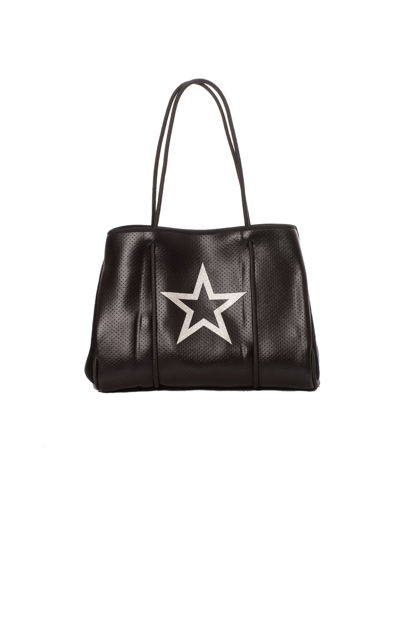 Haute Shore - Greyson Vegas Neoprene Tote Bag w/Zipper Wristlet Inside (Vegas, Black w/White Star)