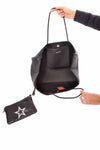 Haute Shore - Greyson Vegas Neoprene Tote Bag w/Zipper Wristlet Inside (Vegas, Black w/White Star) alt view 3