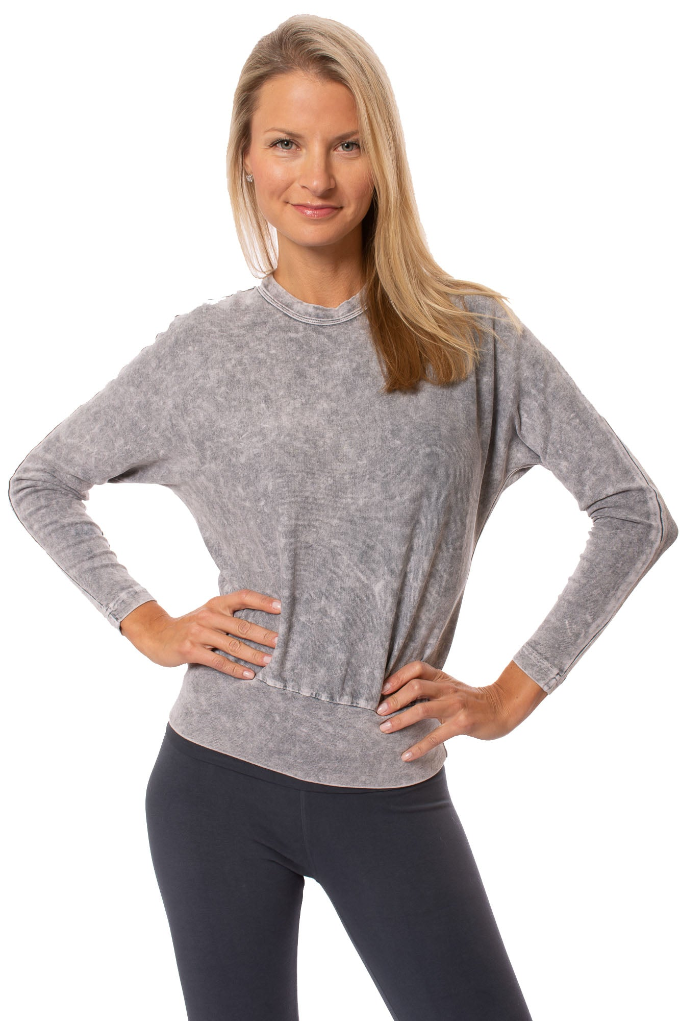 Hard Tail Forever - Long Sleeve Banded Waist Mineral Wash Sweatshirt.  (T-216, Mineral Wash MW11)
