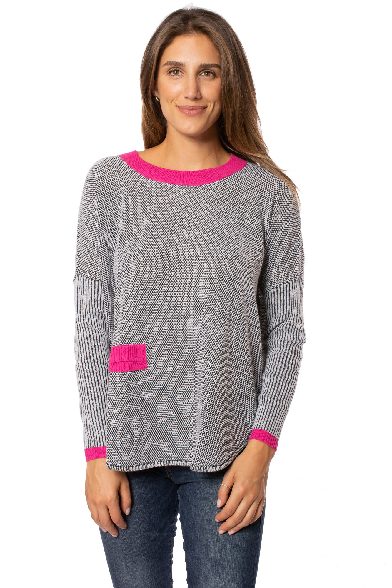 Zaket & Plover - Crew Neck Long Sleeve Sweater (ZW209OU, Grey/Pink/Black)