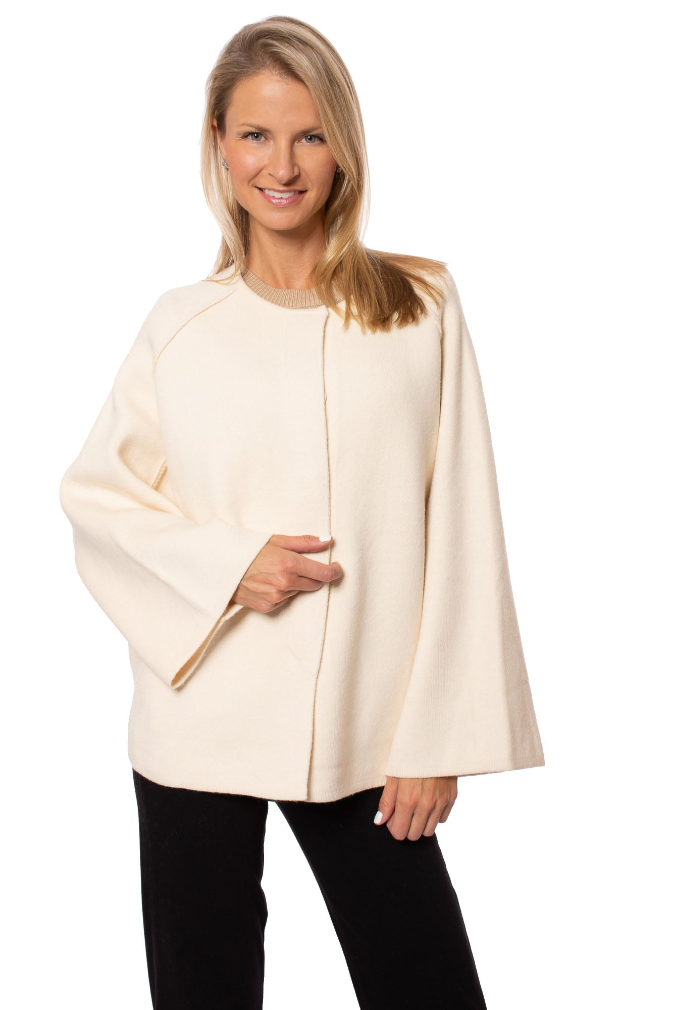 Love Token - Flare Sleeve Button Front Sweater Cape (LT31-67, Cream)