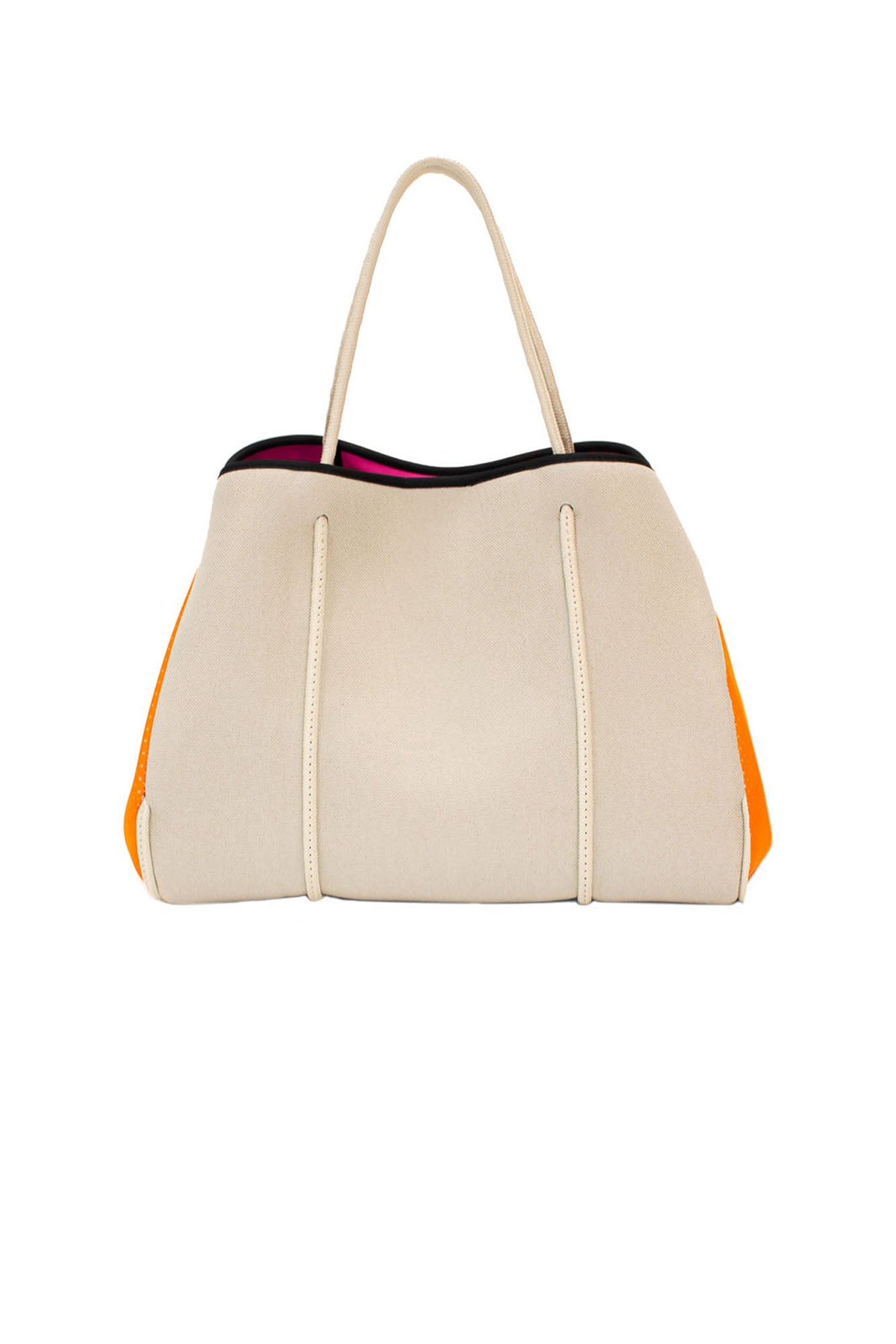 Greyson Capri Neoprene Tote Bag w/Zipper Wristlet Inside (Style CAPRI, Tan Canvas w/Orange Sides) by Haute Shore