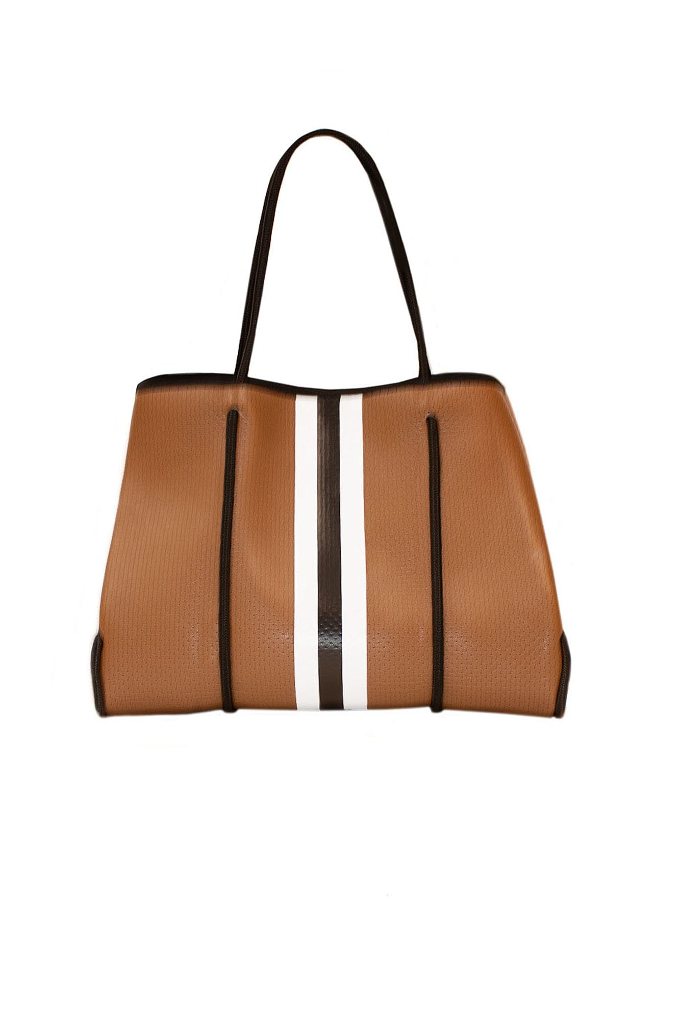 Haute Shore - Greyson Naples Neoprene Tote Bag w/Zipper Wristlet Inside (NAPLES, Saddle Brown w/Black & White Stripe)