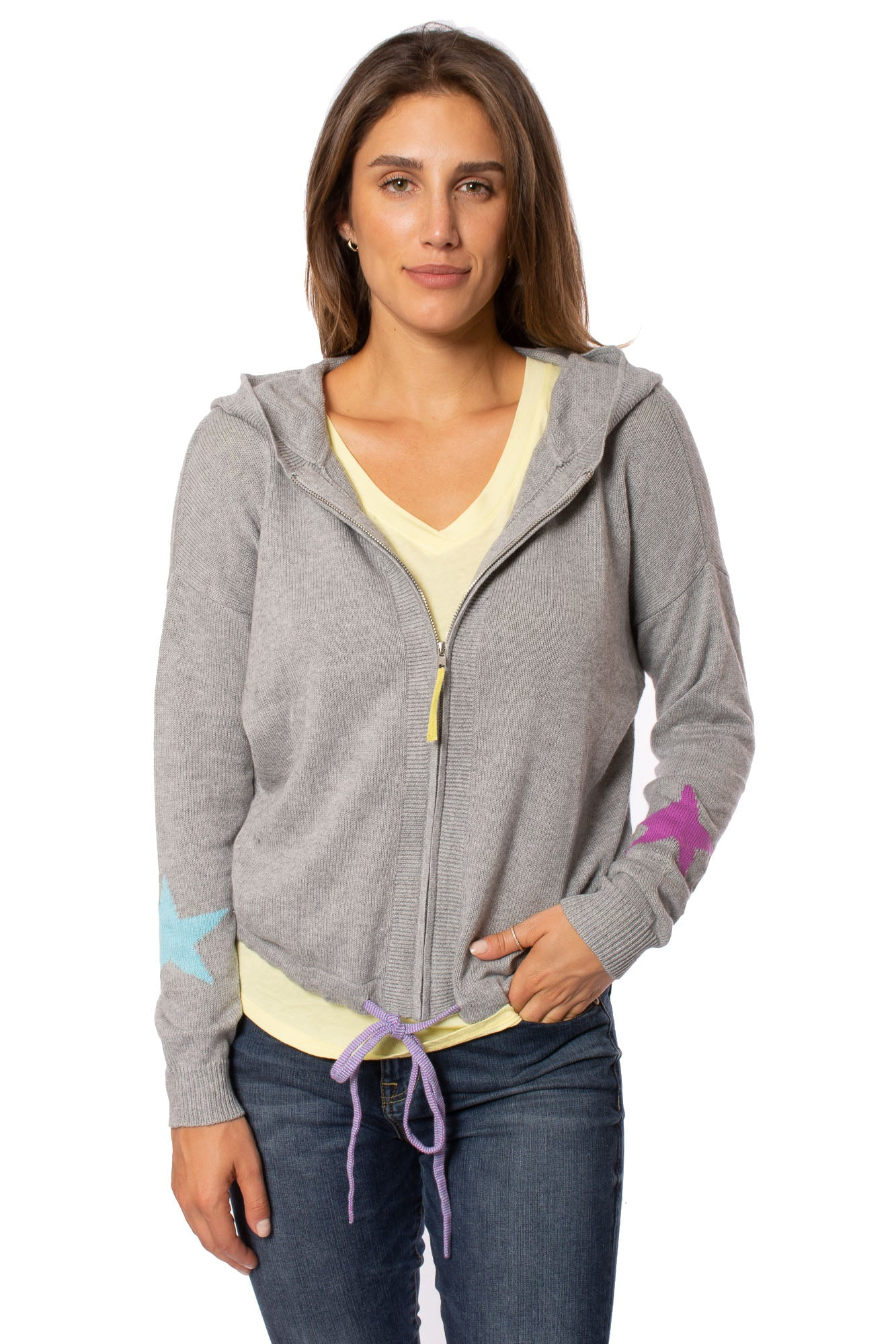Zaket & Plover - Zip Up Hoodie (ZW2096U, Light Grey w/Stars)