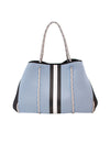Haute Shore - Greyson Breeze Neoprene Tote Bag w/Zipper Wristlet Inside (BREEZE, Baby Blue w/White & Black Stripe)