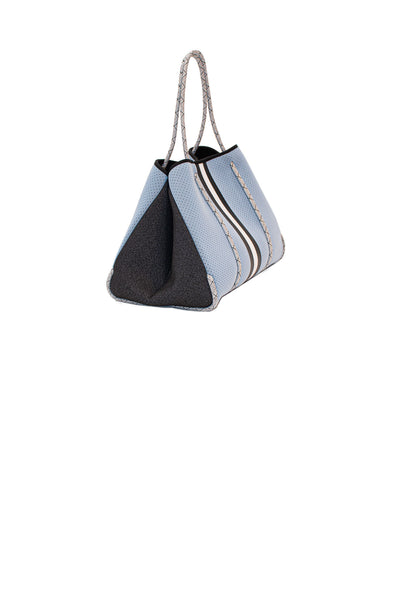 Haute Shore - Greyson Breeze Neoprene Tote Bag w/Zipper Wristlet Inside (BREEZE, Baby Blue w/White & Black Stripe) alt view 1