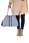 Haute Shore - Greyson Breeze Neoprene Tote Bag w/Zipper Wristlet Inside (BREEZE, Baby Blue w/White & Black Stripe) alt view 4