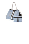Haute Shore - Greyson Breeze Neoprene Tote Bag w/Zipper Wristlet Inside (BREEZE, Baby Blue w/White & Black Stripe) alt view 5