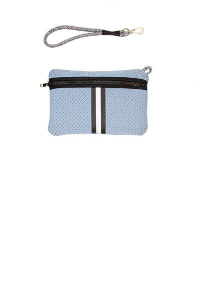 Haute Shore - Greyson Breeze Neoprene Tote Bag w/Zipper Wristlet Inside (BREEZE, Baby Blue w/White & Black Stripe) alt view 6