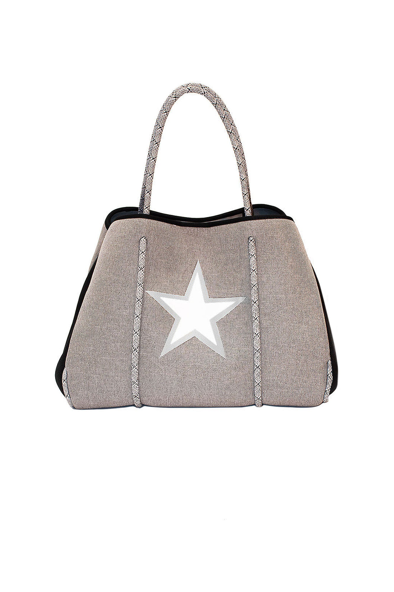 Haute Shore - Greyson Wonder Neoprene Tote Bag w/Zipper Wristlet Inside (Wonder, Gray Canvas w/White Star)
