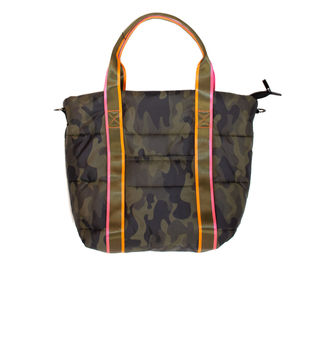 Haute Shore - Jaime Catch Puffer Tote w/Shoulder Strap (CATCH, Green Camo w/Pink)