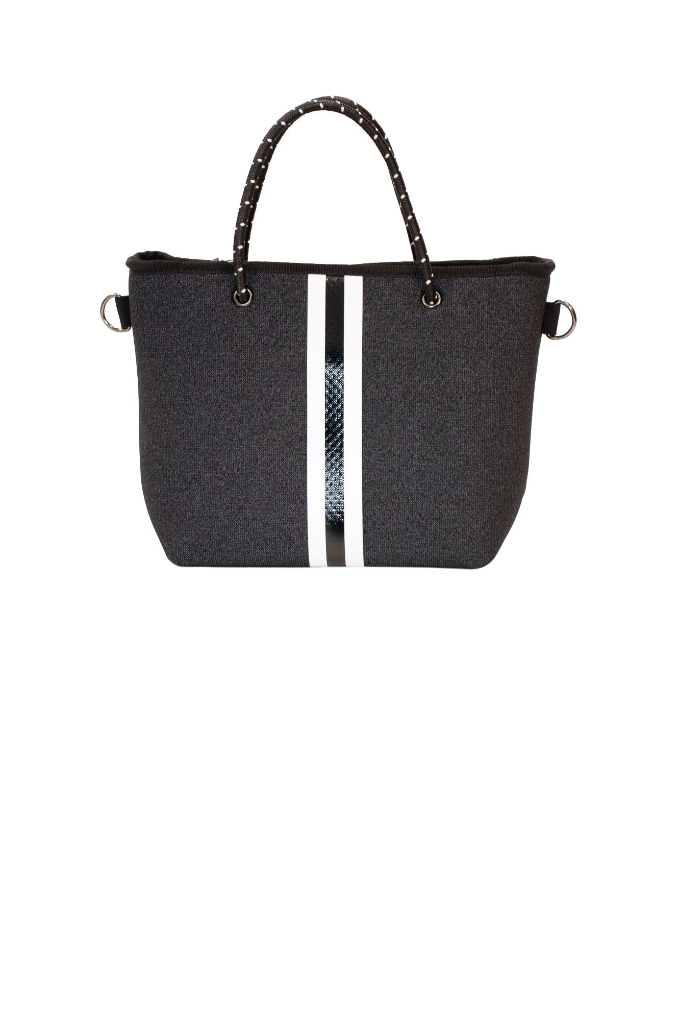 Haute Shore - Ryan Strut Mini Tote (STRUT, Black Canvas w/White/Black Stripe)