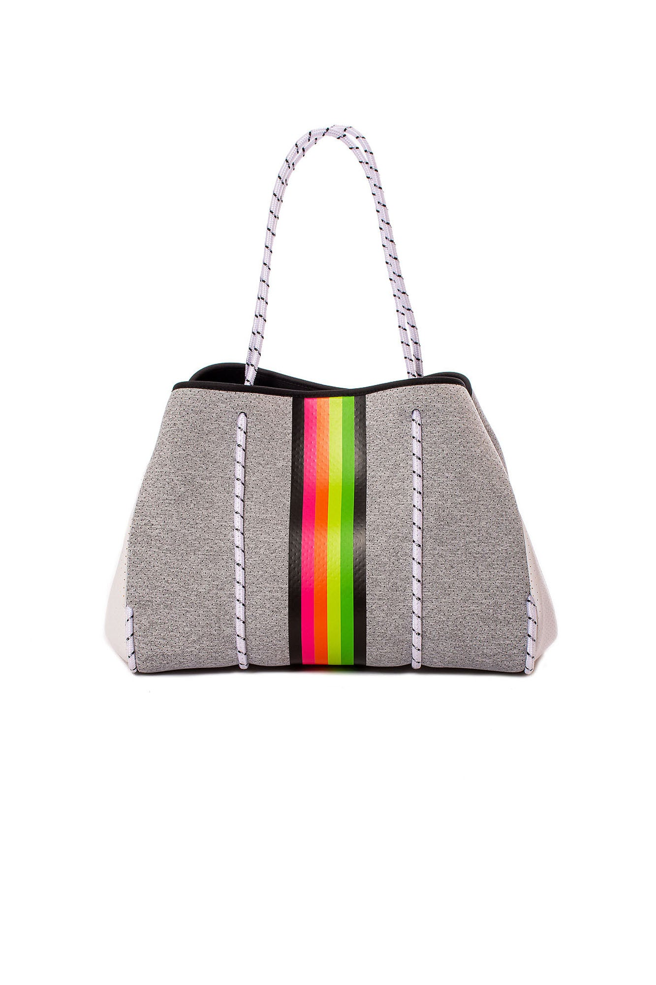 Greyson Glow Tote Bag with/Tethered Removable Wristlet (Style Greyson, Heather Grey w/Stripes) by Haute Shore