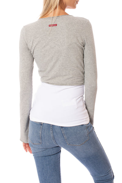 Hard Tail Forever - Crop Bell Sleeve (SL-12, Heather Gray) alt view 2