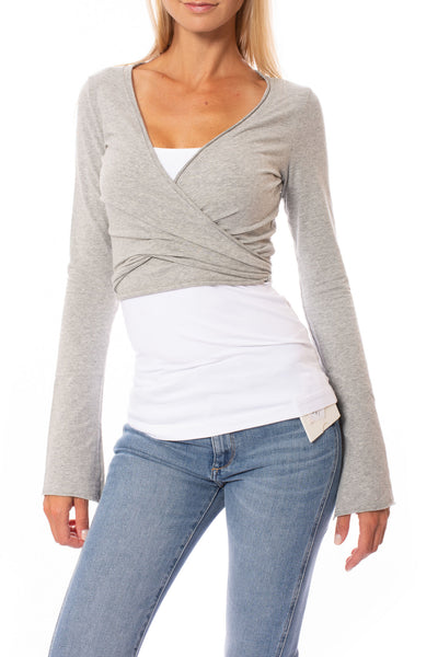 Hard Tail Forever - Crop Bell Sleeve (SL-12, Heather Gray) alt view 5