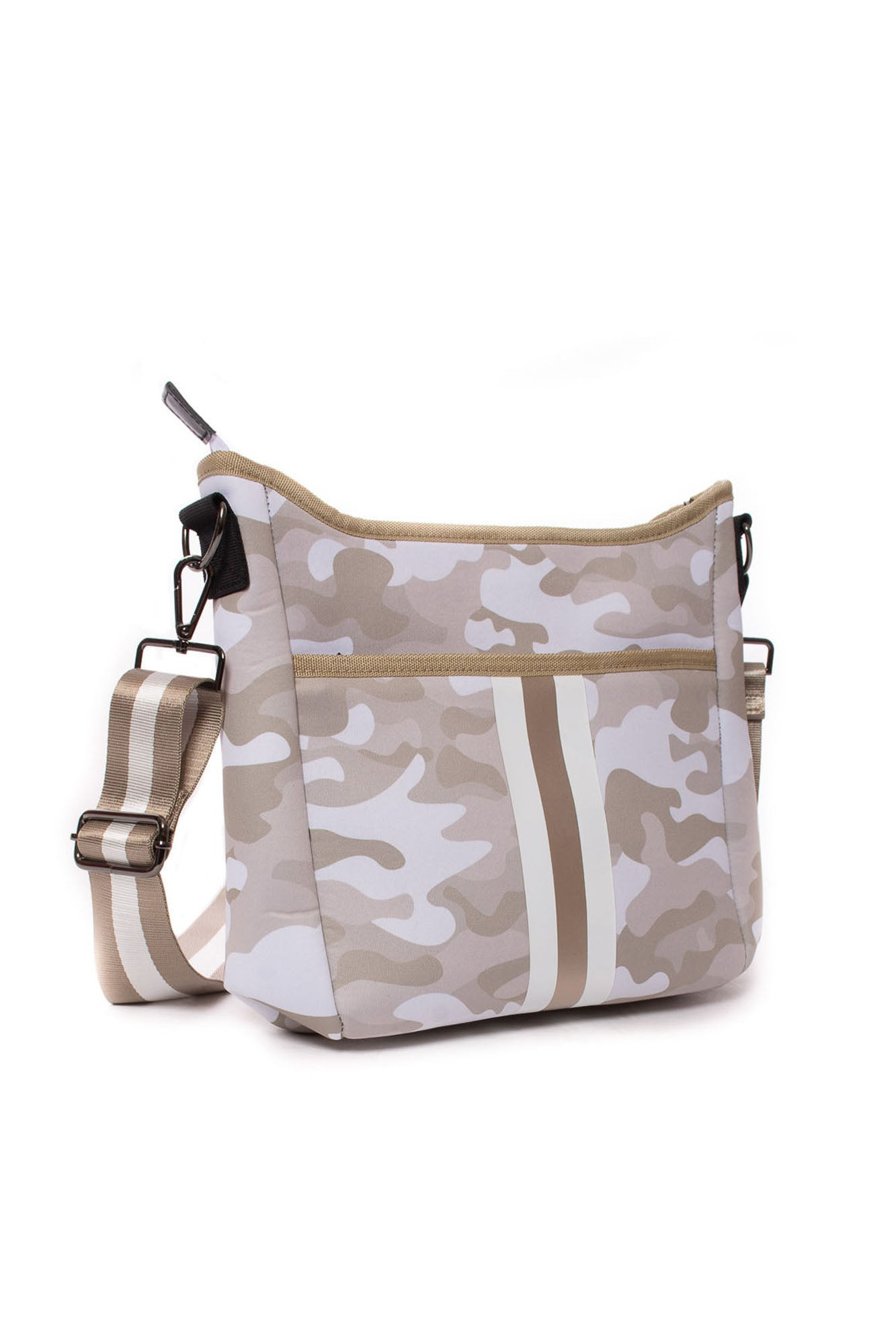 Haute Shore - Blake Sahara Cross Body (Blake, Beige Camo w/Rose Gold & White Stripe)