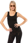 LA Made - U Neck Ribbed Tank (s21004, Black)