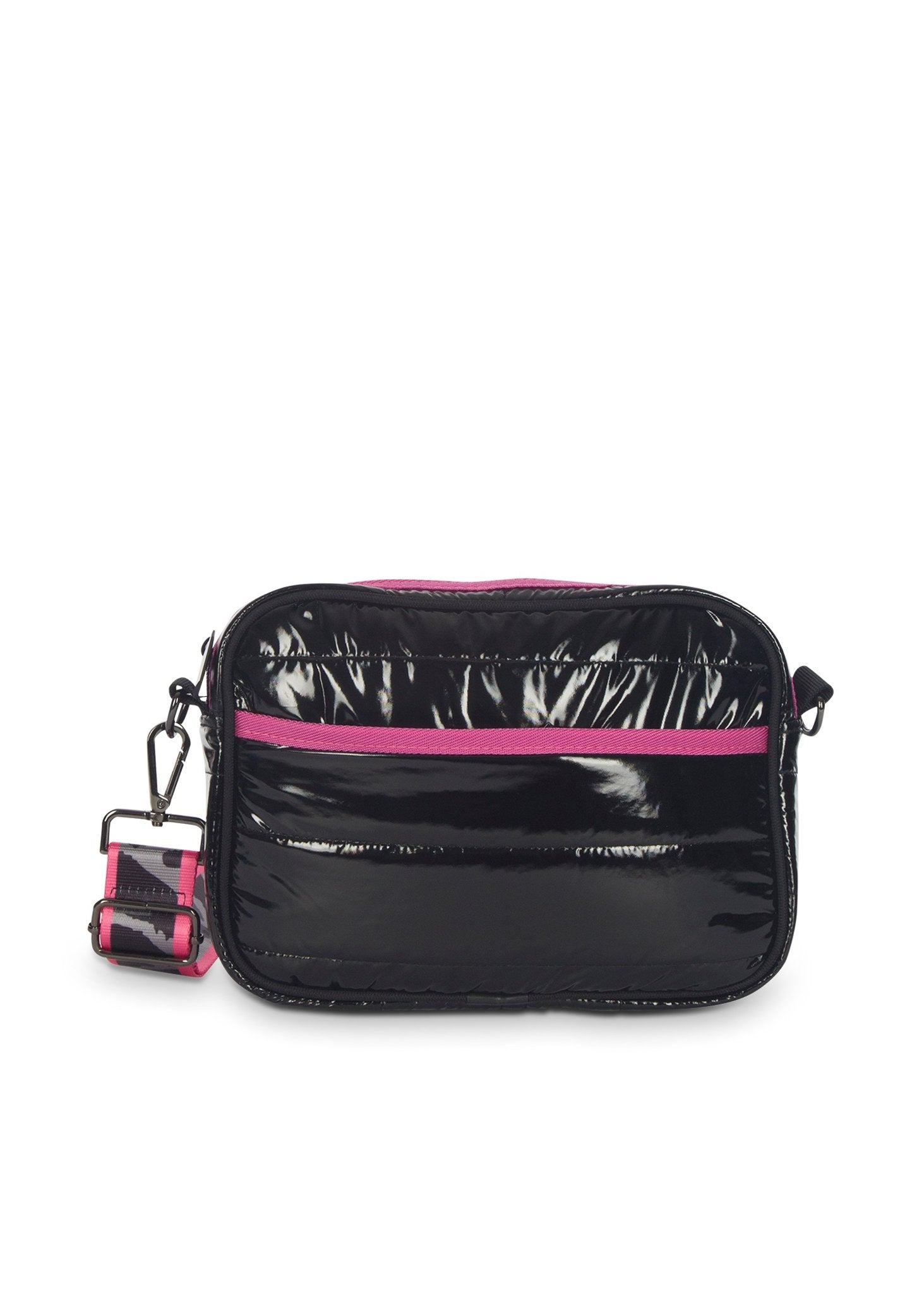Haute Shore - Drew Noir2 Crossbody (Drew, Black Metallic w/Pink & Grey Camo Strap)
