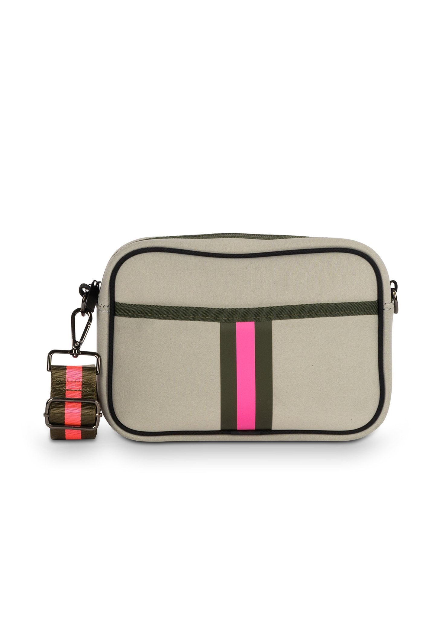 Haute Shore - Drew Swank Crossbody (Drew, Putty w/Army & Hot Pink Stripe)