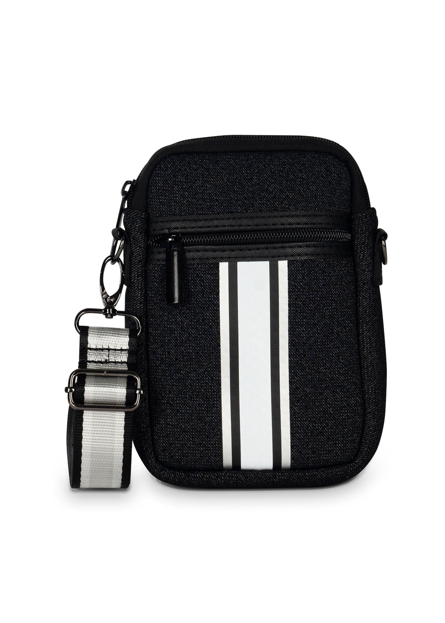 Haute Shore - Casey Chic Neoprene Cell Phone Case (Casey, Black Denim w/Silver Black White Stripes)