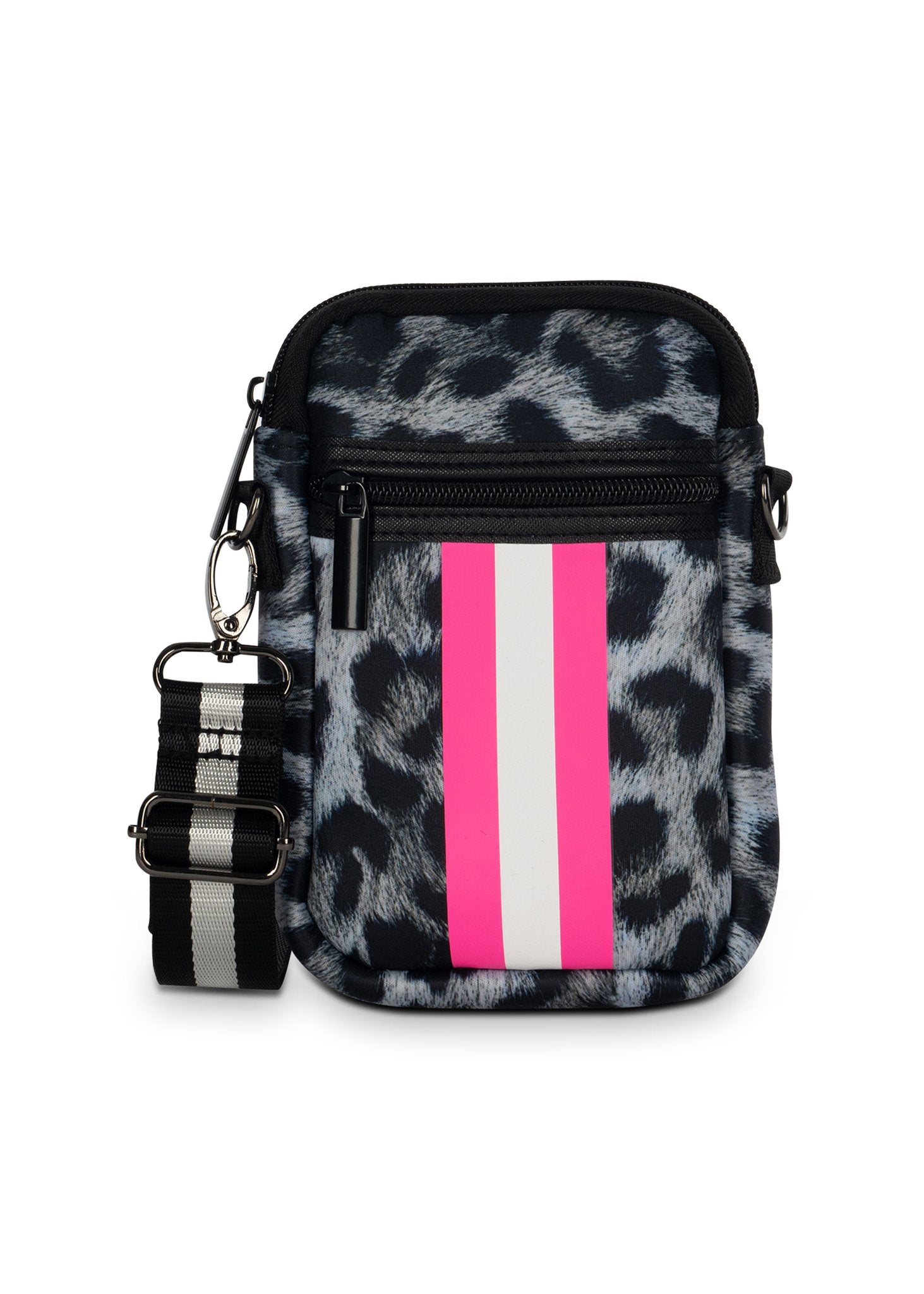 Haute Shore - Casey Babe Neoprene Cell Phone Case (Casey, Snow Leopard w/Hot Pink White Stripe)